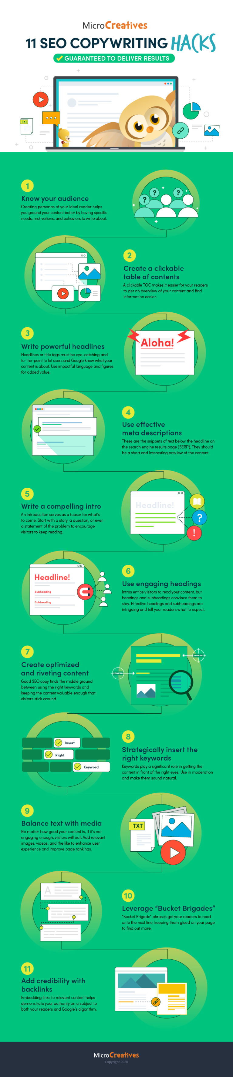 Infographic with SEO hacks that will drive results.