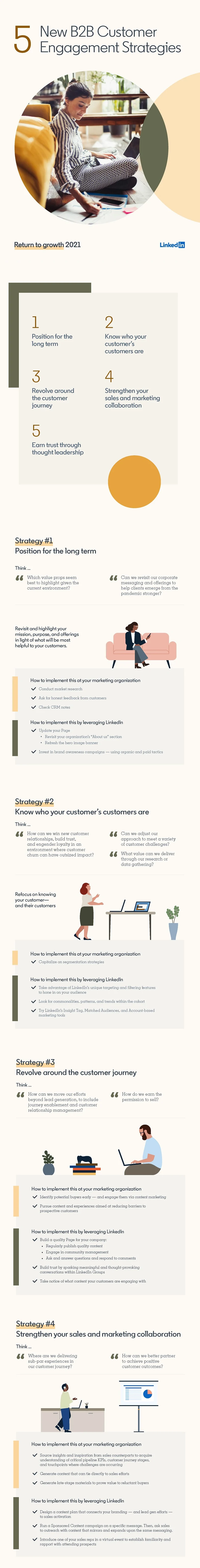 Infographic with B2B customer engagement strategy tips.