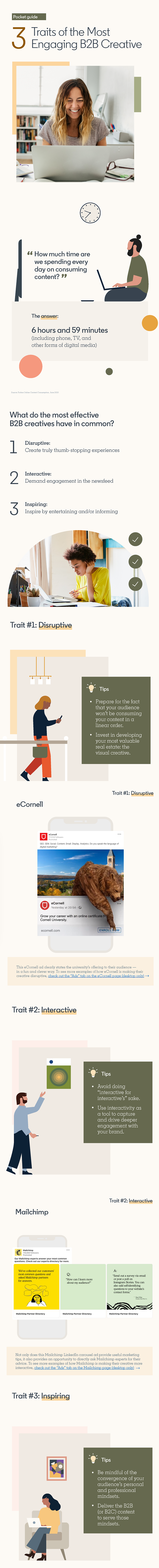 Infographic with traits of the most engaging B2B content according to LinkedIn.