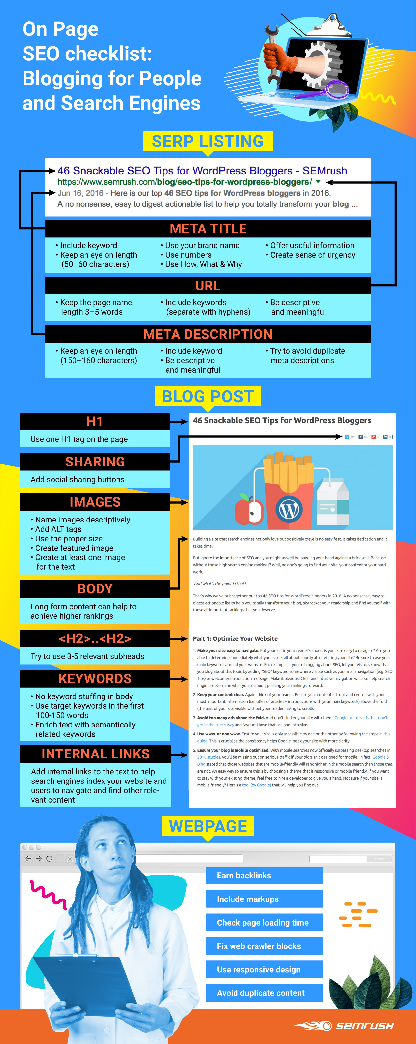 Infographic with tips on SEO optimization.